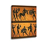 Ansouyi 16x20 Inches Canvas Wall Art Painting Ancient Greece Scene Black Figure Pottery Greek Mythology Centaur Home Decorative Artwork Prints