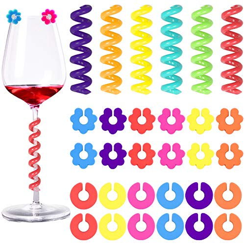 30 Pcs Silicone Drink Markers Wine Glass Charms Markers Drink Markers for Champagne Flutes Cocktails Martinis Wine Glass 3 Shape