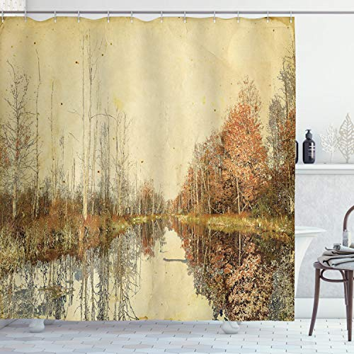 Ambesonne Autumn Shower Curtain, Colorful Fallen Leaves at Fall Season Design Watercolor Style Trees in The Woodland, Cloth Fabric Bathroom Decor Set with Hooks, 70' Long, Brown Tan