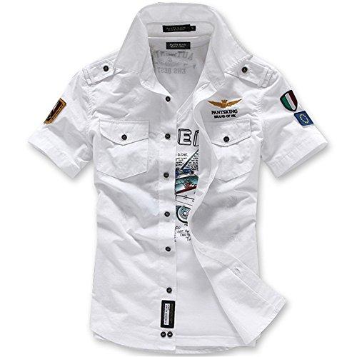 LLS-Herren Hemd Kurzarm/Freizeithemd kariert/Kurzarm Herren Hemd/Herren Freizeit Hemden/Stickereien Slim-Fit Form Lässiges HemdKurzarmhemd, weiß, XL