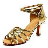 VASHCAME-Zapatos de Baile Latino de Tacón Alto/Medio para Mujer Oro 34 (Tacón-7cm)