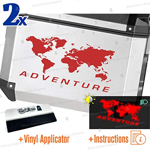 2pcs World ADVENTURE Universal Reflective Stickers for Various Types of Suitcases (Red)