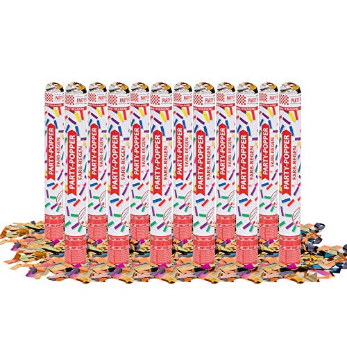 Party Factory 1 Party Popper, 40 cm, Buntes Konfetti, bis 8 m Effekthöhe, Konfettiregen für Hochzeit, Geburtstag oder Silvester