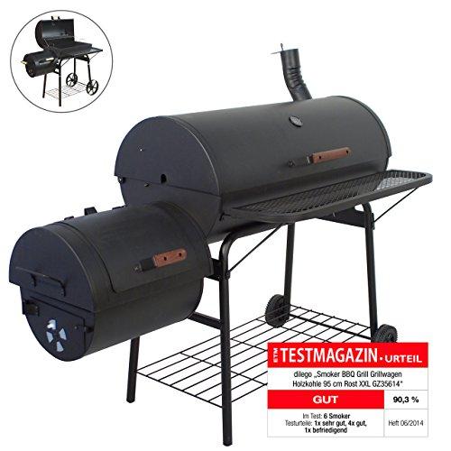 Nexos BBQ Grill Smoker Grillwagen Holzkohlegrill 2 Kammern Barbecue Transporträder Temperaturanzeige Stahlblech Lüftungsklappen Ablageflächen Verschiedene Modelle wählbar (57 kg)