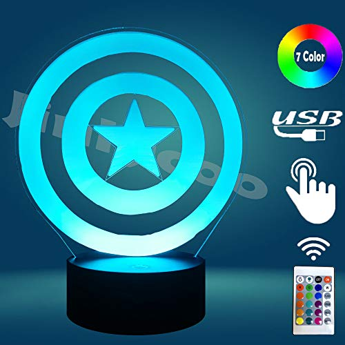 Movie Avengers Super Marvel Hero Captain America Shield for Boy Bedroom Table Lamp Holiday Party Mood Illusion RGB 7 Color Change LED Home Decor Night Light Birthday Kids Gift(Captain America Shield