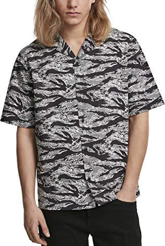 Urban Classics Herren Pattern Resort Shirt Freizeithemd, Mehrfarbig (Stone Camo 01241), Large (Herstellergröße: L)