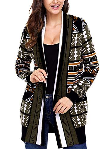 LOSRLY - Suéter de manga larga para mujer, diseño azteca, estampado frontal, abierto, para mujer, informal, de manga larga Verde verde L