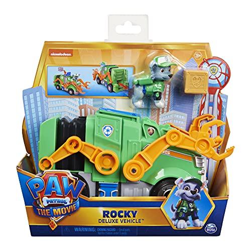 Paw Patrol Rockys Deluxe Basis Fahrzeug aus dem Kinofilm mit Hundefigur, Spielzeugauto, ab 3 Jahren