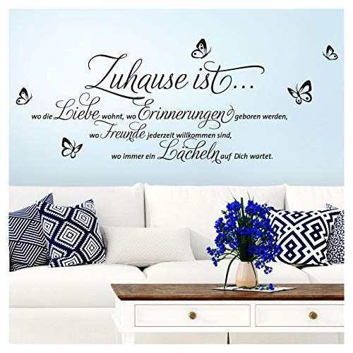Wandaro Wandtattoo Zitat Zuhause ist wo die Liebe wohnt + Schmetterlinge I schwarz (BxH) 100 x 43 cm I Wohnzimmer Wandaufkleber Wandsticker Aufkleber W3251