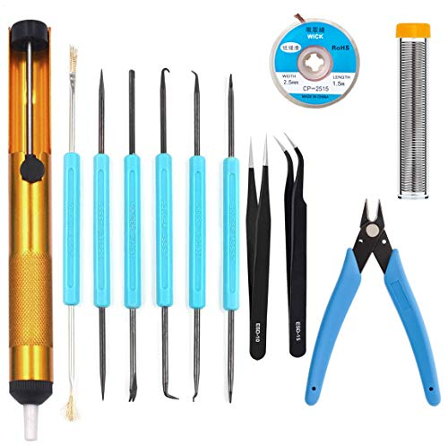 Professional welding tools and desoldering tool sets (12 pieces), desoldering pumps, desoldering wicks, wire cutters, tweezers, welding wire, soldering iron auxiliary accessories