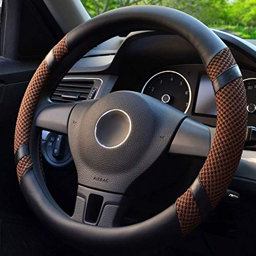 BOKIN Steering Wheel Cover Microfiber Leather and Viscose, Breathable, Anti-Slip, Odorless, Warm in Winter and Cool in Summer, Universal 15 Inches (Brown)