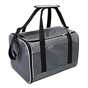 Seniny Cat Carrier Bag, Airline Approved Dog Carrier for Small Dogs, Soft Cat Carriers with Mesh Windows & Cozy Pad, Collapsible Pet Travel Carrier for Puppy/Kitten, Under 16 Lbs