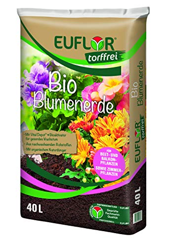 Euflor Bio Blumenerde torffrei 40 L Sack aus 100{50e43c1d6484913d8b1ef848a805048b2c190f8b6a7b0da609317956e7f72519} nachwachsenden Rohstoffen, für Beet- und Balkonpflanzen, Grunddüngung mit 12 Wochen Langzeitwirkung