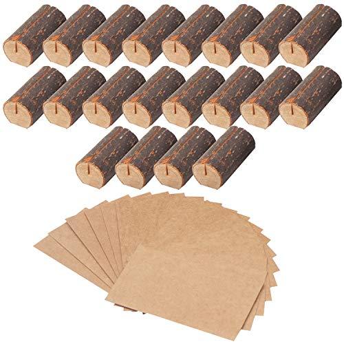 Belle Vous Rustikale Holzkartenhalter (20er-Set) - 30 Visitenkarten Holzkartenhalter Kartenhalter Hochzeit Tischkarten, Restaurant Menükartenhalter, Tischhalter, Fotos