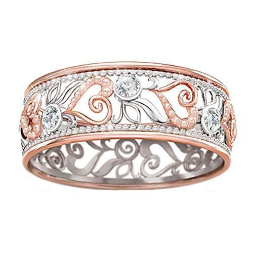 minjiSF Anillo de diamante hueco para mujer, de alta calidad, único, con personalidad, joya elegante, anillo de compromiso, regalo de cumpleaños (multicolor, 10)