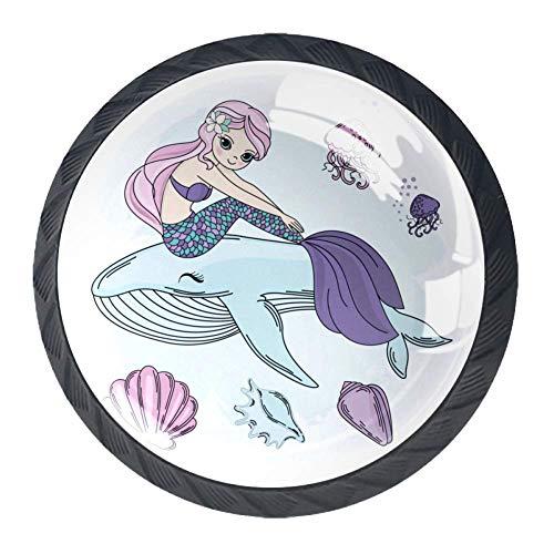 Sirène et baleine blanche 4 pièces Poignée de tiroir pour armoire garde-robe en verre boutons de décoration décoration chambre d'enfant chambre meilleur cadeau pour enfants 3,5 x 2,8 cm