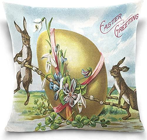 Vintage Conejito de Pascua Huevo Flor Fundas de Almohada Fundas de Almohada Decorar Fundas de Almohada a Prueba de Encogimiento para sillón de 20x20 Pulgadas
