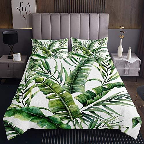 Palmblatt Bettüberwurf für Mädchen Kinder Kleinkind Tropische Blätter Steppdecke Dekorative grüne botanische Tagesdecke 220x240cm Blattzweige Wohndeckee 3St