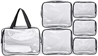 Clear Toiletry Bag Cosmetics Bags Waterproof Makeup Bags Organizers Portable PVC Zippered Carry Pouch for Bathroom Vacation Travel, Set of 6
