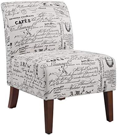 Best Linon Linen Script Lily, Dark Walnut Chair, 21.5