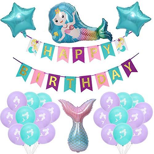 witgift Globos decorativos para fiesta de cumpleaos con forma de sirena, para nias, con diseo de sirena, para fiesta de cumpleaos