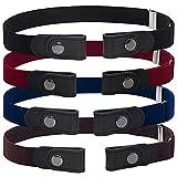 BESTZY Cinturón de hebilla redonda 4PCS Cinturón de piel para mujer para Mujer Señoras Cinturones Estrechos para Jeans/Vestido con Hebilla Redonda -dorado
