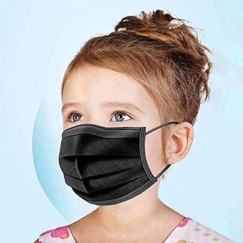 URUSANA 50 Kinder Maske Einweg-Gesichtsmasken Einweg Mund und Nasenschutz Mundbedeckung Behelfsmaske Mundschutz atmungsaktiv Staubmaske Dehnbare elastische Ohrschlaufen Maske (Schwarz)