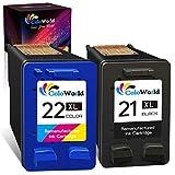 ColoWorld Cartuchos de tinta negra remanufacturados 21 XL para HP Deskjet F2120 F2280 F380 F390 F4180 F335 F375 F4190 D2360 PSC 1410 1415 Officejet 431 XL 5 435 5 impresoras (1 paquete).