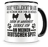 Samunshi® Ich denke an meinen Deutschen Spitz Hunde Tasse Kaffeetasse Teetasse Kaffeepott Kaffeebecher Becher