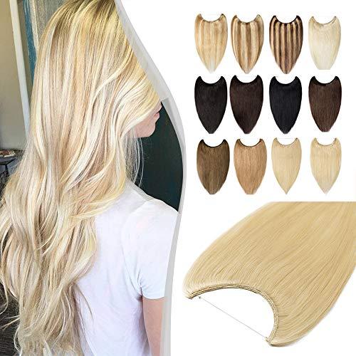 Elailite Extension con Filo Invisibile Capelli Veri 100% Remy Human Hair Fascia Unica senza Clip Standard Weft 40cm #613 Biondo Chiarissimo 60g