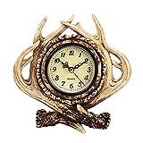 Liseng Decoración de mesa con cuernos, reloj vintage de chimenea, reloj de cuarzo, reloj de decoración para el hogar y la habitación