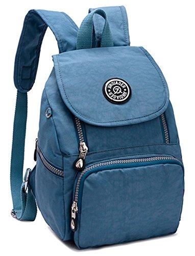 Estwel Damen Mädchen Rucksack Kleine Reise Daypack Freizeitrucksack Elegant Damenrucksack Wasserdicht Nylon Reiserucksack(Blau)