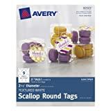AVERY Textured White Scallop Round Tags, 2.5-Inch Diameter, Pack of 27 (80503)