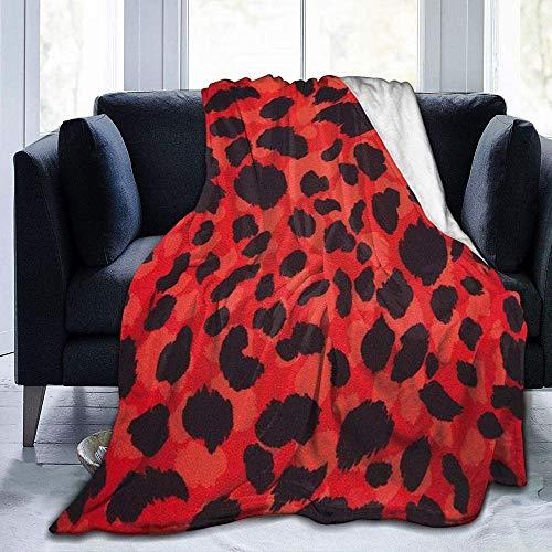DWgatan Kuscheldecke Decke,Easy Care Super Warm Fleece Blanke Bed Throw,Rote Leopardenmuster Bedruckte Decke für Schlafzimmer Wohnzimmer Couch Bett Sofa -50'x40