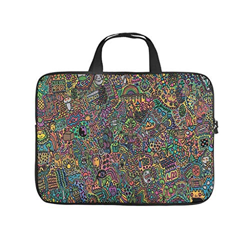 Colorful psychedelic art Laptop bag Design Laptop Case Bag vintage Anti-Scratch Laptop Briefcase with Portable Handle for Women Men white 12 zoll