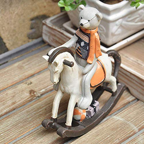 erddcbb Retro Resin Rocking Horse Figurine Sculpture Home Decor Kids Toys Gift Room Decor Home Christmas Decoration