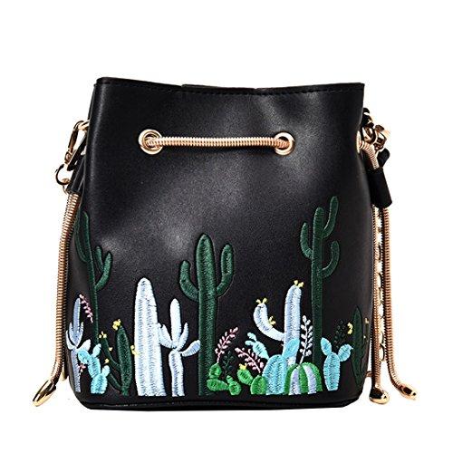 AiSi Damen Mädchen Kaktus Design Leder Umhängetasche Beuteltasche Tasche, Handtasche mit Kordelzug, Ledertasche mit Schulterriemen Schwarz