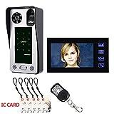 7inch huella digital IC tarjeta video portero telefónico portero con puerta sistema de control de acceso de visión nocturna seguridad CCTV cámara vigilancia casera