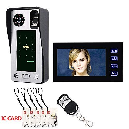 TQ 7inch Huella Digital IC Tarjeta Video Portero telefónico Portero con Puerta Sistema de Control de Acceso de visión Nocturna Seguridad CCTV cámara vigilancia casera