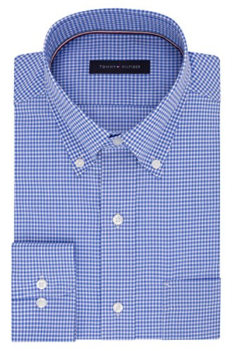 "Tommy Hilfiger Men's Dress Shirt Regular Fit Non Iron Gingham, English Blue, 16.5"" Neck 34""-35"" Sleeve (Large)"