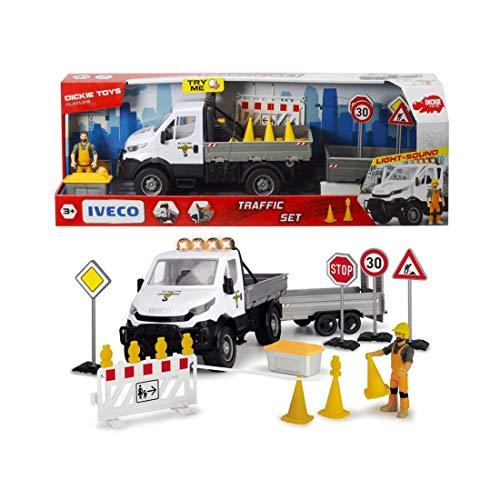 Dickie Toys Playlife Verkehr Set, Baustelle Spielzeug, Baustellen Fahrzeug, Auto Set, Iveco Transporter mit Freilauf, Licht & Sound, inkl. Batterien, 41,5 cm