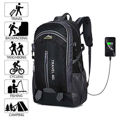 Recsoul 40L Unisex Hiking Backpack, Lightweight Durable Travel Backpack Daypack with USB Charging Port For Outdoor Sports and Travel
