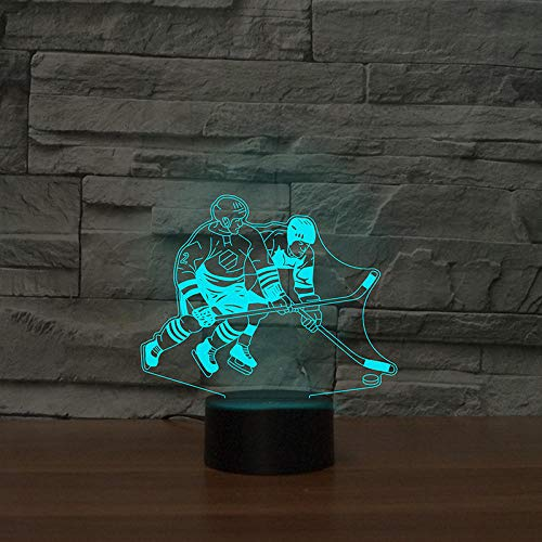Playing hockey match player 7&16M Color s LED NightLight Bedside Decor 3D Table Lamp USB Sleep Lamp Birthday Christmas Gifts Trophy
