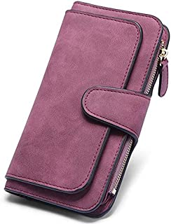 Elios Fashion Soft Vegan PU Leather Trifold Ladies Clutch RFID Blocking Phone | Credit Card Holder |Organizer |Purse |Wallet for Women with 14 Card Slots (Wine)