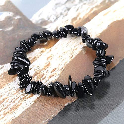 bhzha Natural Gem Stone Chip Beads Pulseras de turmalina Negra para Mujer Regalo de Aura de tamaño pequeño