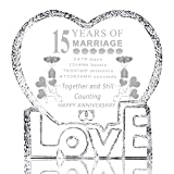 15 Years 15th Wedding Anniversary Gifts for Him Her Husband Wife Mom Dad Parents Couple Friends