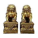 Un par de Estatua de león Feng Shui, decoración de Perro guardián Chino Lion Foo, símbolo de Prosperidad de Riqueza, Mejor decoración de Regalo de inauguración de la casa(L1.57 * W1.18 * H 2.75')