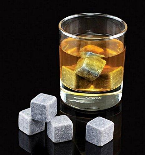Vina Whiskey Wein Chiller Steine Set, 9Premium Chillen Ice Rocks für Bier Bourbon etc. Chill jedes Getränk ohne ES ZU verwässern, mit einem schwarz Tasche für & #-; one size for most hellgrau - 2