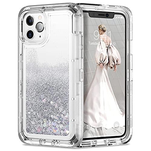 CRFYJ Caso di Armatura Antiurto Proteggere Heavy Duty per iPhone 12 11 PRO Max XS X XR 7 8 6 Plus Cover Clear Glitter Quicksand Casi telefonici (Color : Silver, Material : for iPhone 11 PRO)