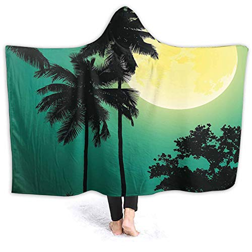 ThinkingPower Poncho Blanket Light Night COC ut in Exotic Dark Rain Image Yellow Jade Green Wearable Hooded Blanket Perfect for Home Office and Watching Tv on Sofa 60 x 50 Inch